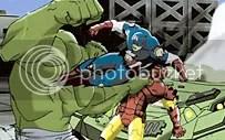 Capitão América e Homem de Ferro com pequenos problemas com o Hulk em Ultimate Avengers, The Movie - CLIQUE PARA AMPLIAR ESTA IMAGEM