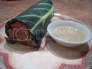 pate stuffed collards with dipping sauce