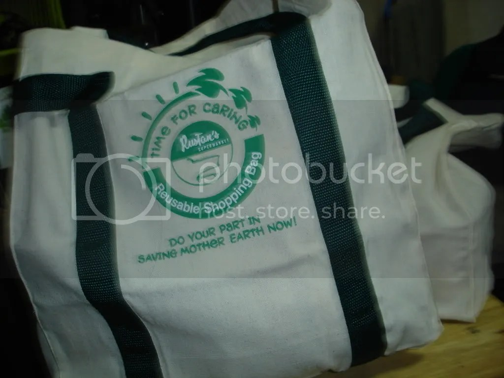 We use these nice recyclable shopping bags from Rustans.  Use less plastic, I always say!