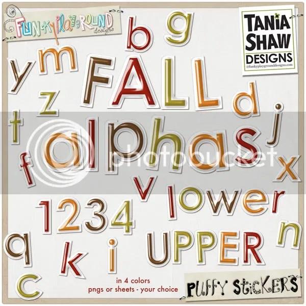 Fall Puffy Sticker Alphas