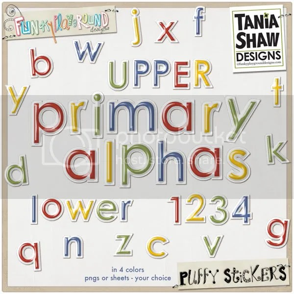 Primary Puffy Alpha Stickers