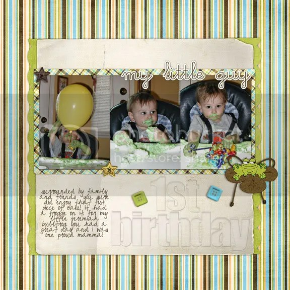 JT's first birthday scrapbook page