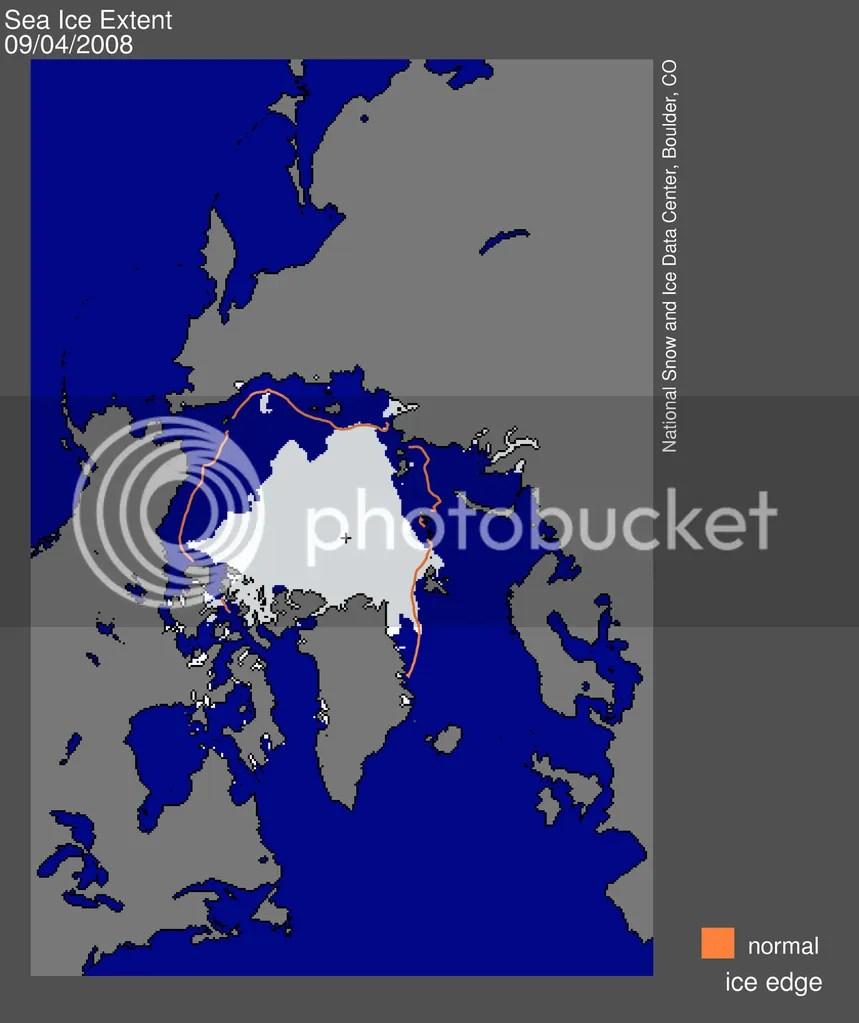 Arctic sea ice extent 2008