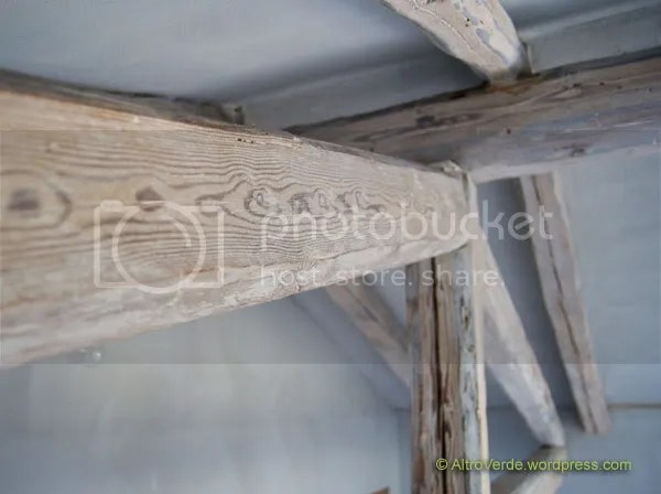 The wooden beams in the guest room