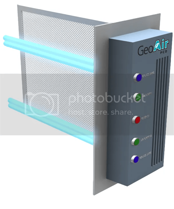 GeoAir PCO air purifier unit that uses ultraviolet light to break apart organic molecules suspended in mid air