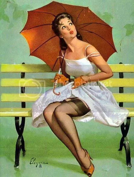 Vintage brolly lady