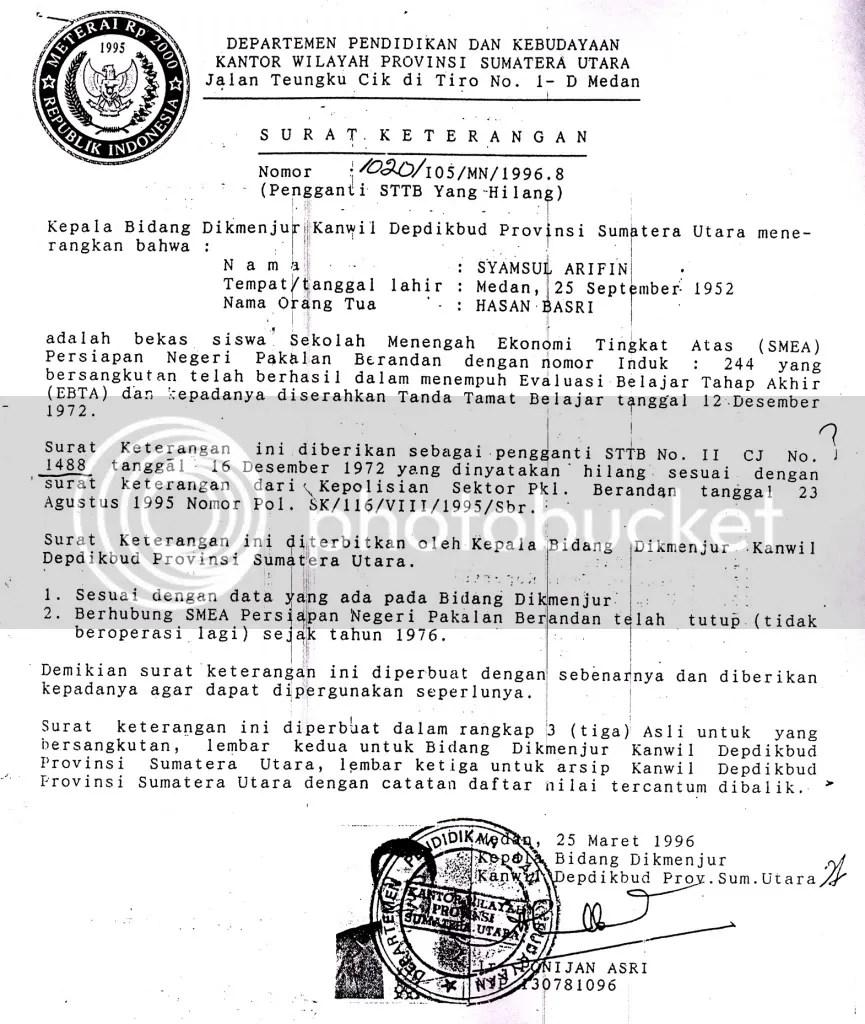 Inilah Surat Keterangan Pengganti Ijazah SMEA Gubsu Syamsul Arifin.