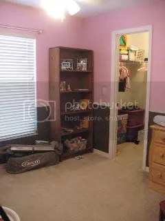 Looking into her room from the door towards her closet.
