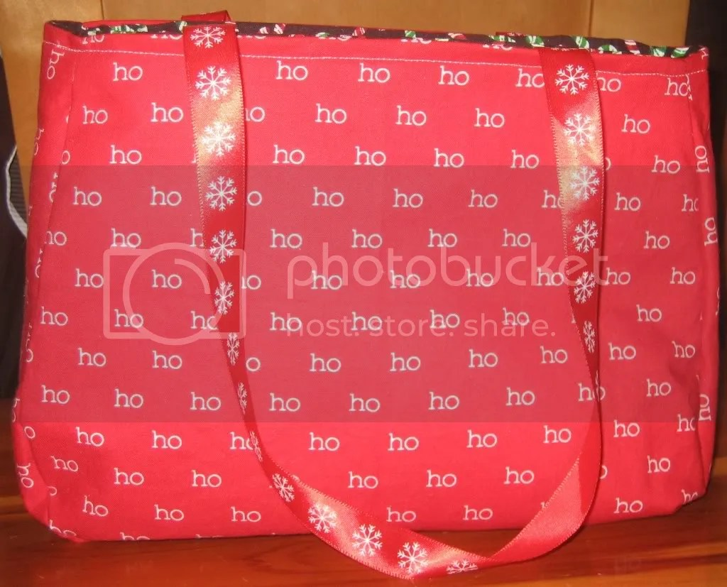Ho Ho Ho/Candy Cane with Red Snowflake Ribbon Handles