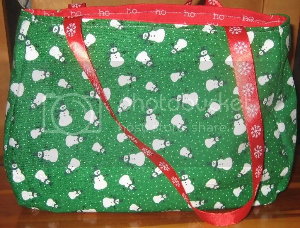 Snowman/Ho Ho Ho purse with Red Snowflake Ribbon Handles