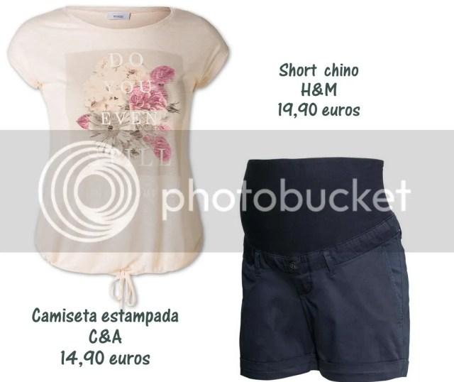 shorts premama y camiseta estampada premama h&m y C&A