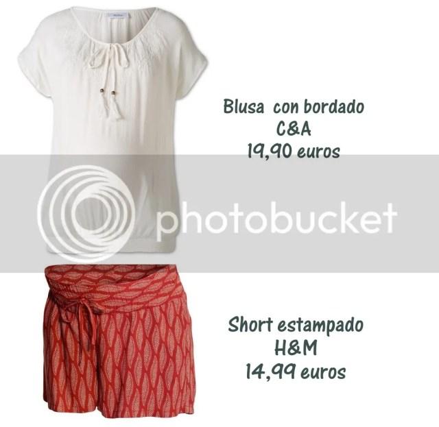 camiseta premama C&A y short estampado premama H&M