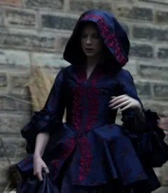Claire's purple and red coat