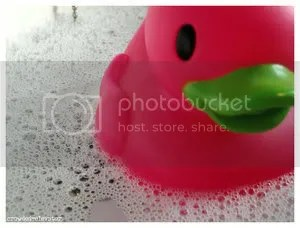 pink rubber ducky in suds
