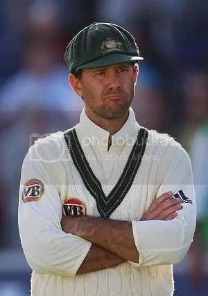 Ricky Ponting looks on in frustration