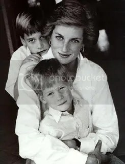 Princess Diana (with young Prince William and young Prince Harry)