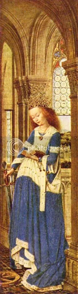 Jan van Eck, Marienaltar, Dresdner Triptychon, rechter Flügel, Hl. Katharina von Alexandrien, um 1437