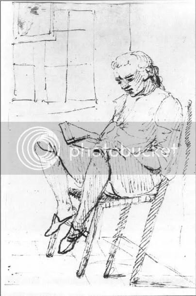 Tischbein, Goethe auf zurückgelehntem Stuhl in seiner römischen Wohnung 1787