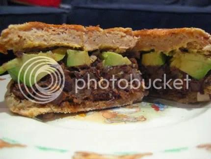 black bean and avocado sandwich