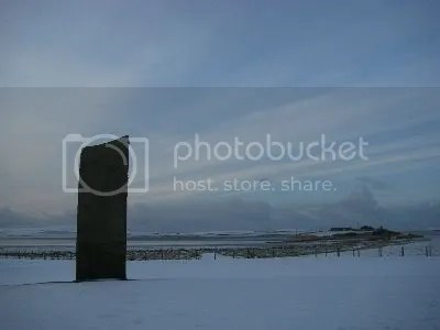 Orkney - Standing Stone in Snow and an incredible Sky