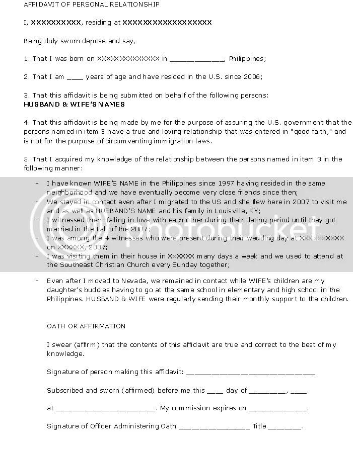 I 751 Sample Affidavit Of Friends Letter Removing Conditions