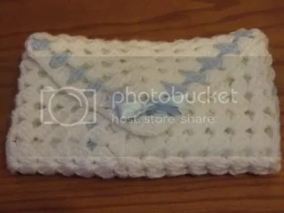 blue and whi hand crochet handcrafted baby boy blanket