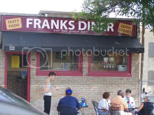 Franks Diner in Kenosha...best known for their garbage plate and homemade bread.  Very good!  I had an omelet and Al got the famous garbage plate (eggs, potatoes, onions, green peppers, meat, cheese, etc).