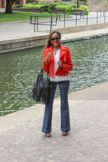 zara jacket, red jacket outfit, how to wear flares, flare jeans, fringe handbag, h&m handbag, sam edelman wedges, ditto eyewear, baublebar tassel earrings, dallas blogger, fashion blogger, dallas fashion blogger, j brand jeans, zac posen sunglasses, fall fashion