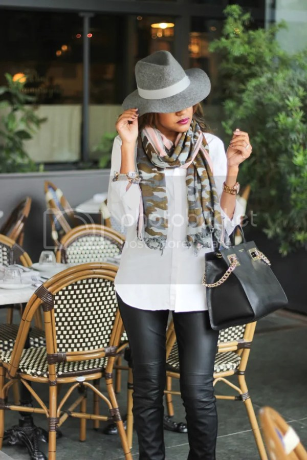 steve madden flapper, leather leggings, j crew camouflage scarf, henri bendel handbag, fringe boots, how to wear white shirt, how to wear fedora hat, fedora hat, rag and bone dupe, dallas blogger, fashion blogger, detroit fashion blogger, fall fashion