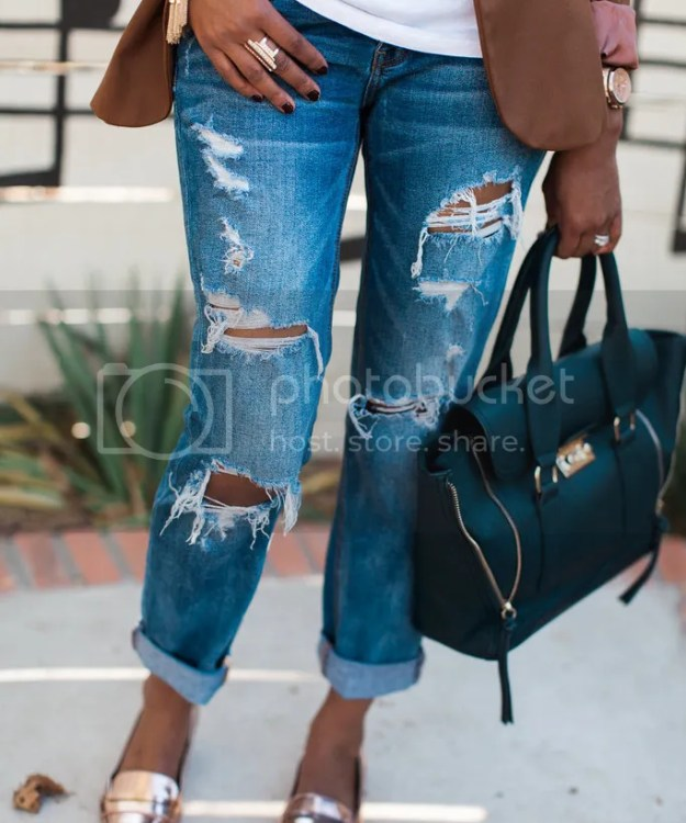 old navy, holy chic, zara blazer, ripped jeans, american eagle tom girl jeans, forever 21, metallic flats, philip lim pashli dupe, what to wear to brunch, casual outfit ideas, boyfriend jeans, dallas blogger, fashion blogger, detroit fashion blogger