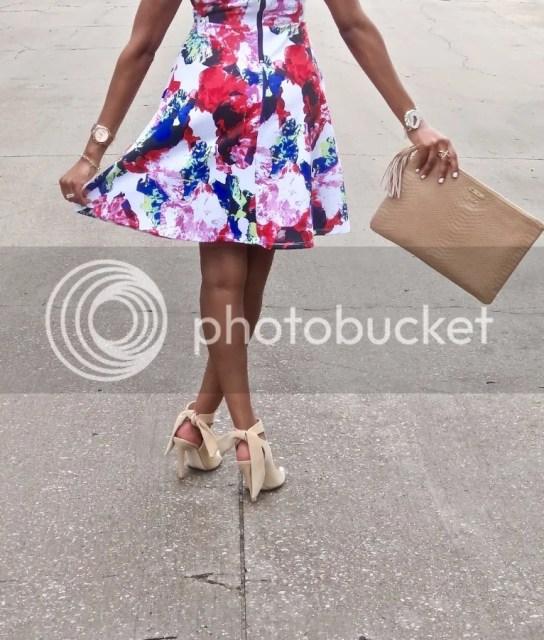 Dallas fashion blogger, fashion blogger, black fashion blogger, dallas blogger, milly, milly designer, milly scuba dress, milly scuba, zara ribbon sandals, zara, druzy bracelet, druzy, sole society, x ring, arm candy, white mani, detroit blogger