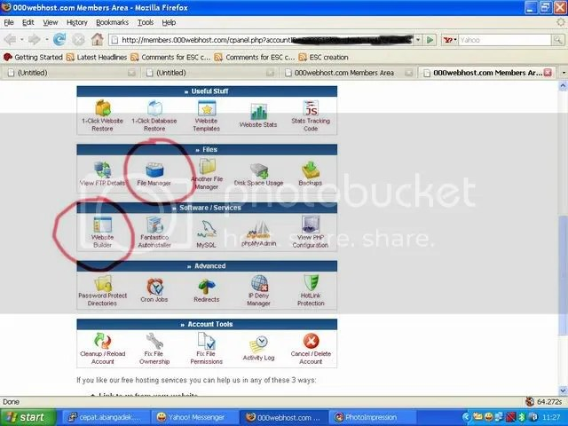 Seting cpanel 000webhost