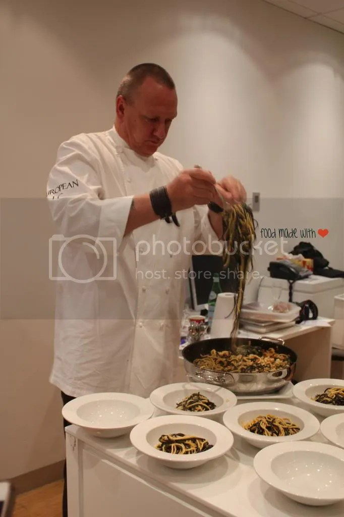 Chef Ian plating the crab linguini