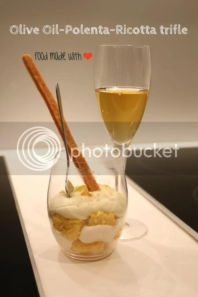 Olive oil polenta ricotta trifle