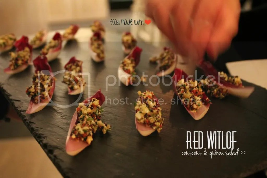couscous and quinoa salad on red witlof