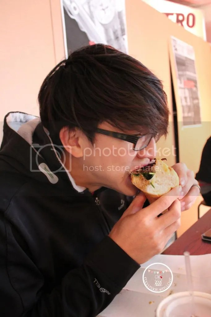 The mr eating the sub