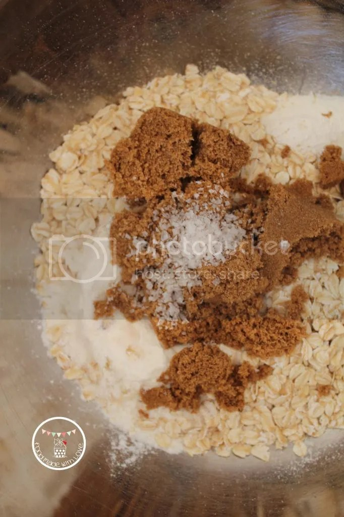 Adding the dry ingredients to make the streusel