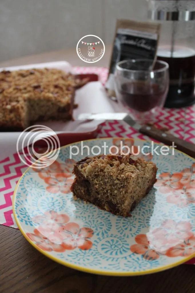 Slice of banana espresso pecan streusel cake