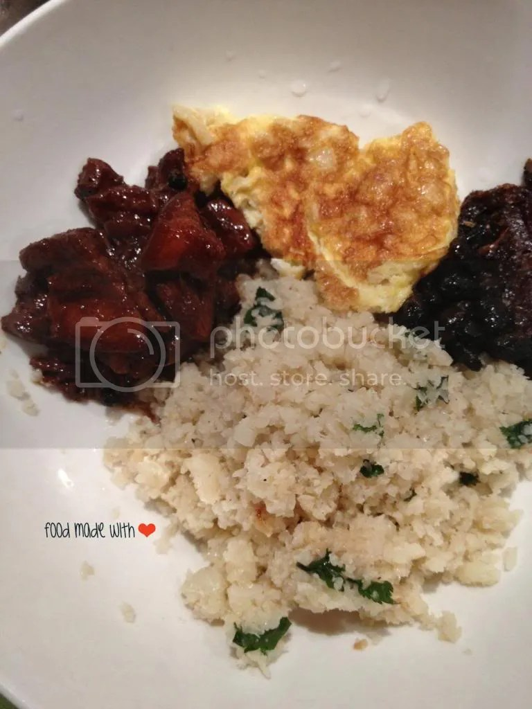 Cauliflower rice with dishes