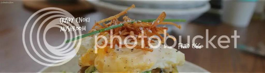 top - fried egg and crispy enoki