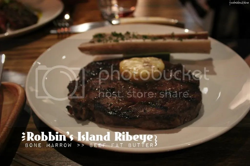 Ribeye steak with bone marrow