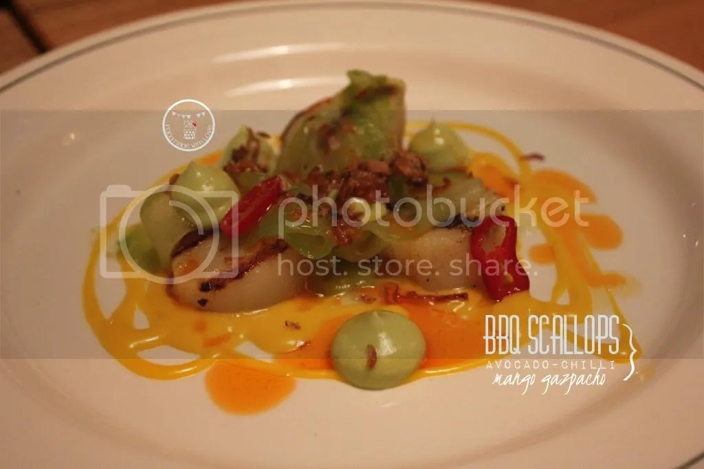 BBQ Scallops with mango gazpacho, avocado and chilli