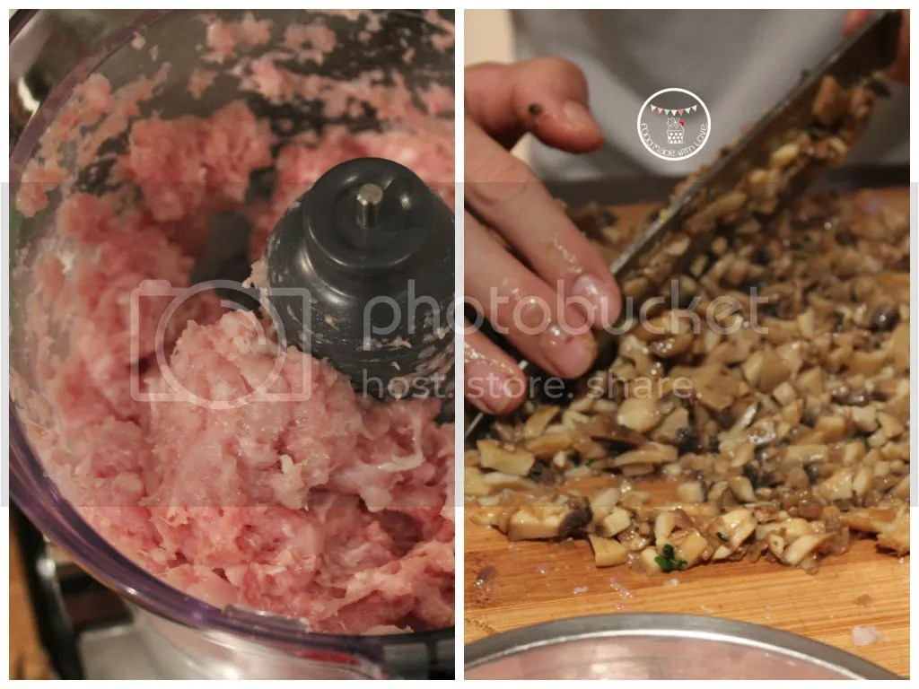 Prepping the chicken and mushroom mixture