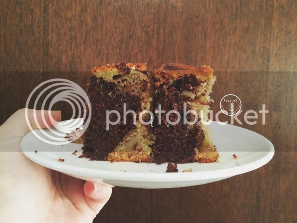 Cocoa, coffee and walnut swirled cake