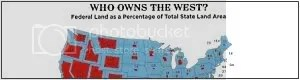 who owns land in each of the 50 states : land owned by federal government highlighted