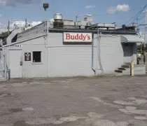 The parking lot entrance to Buddys Pizza in Detroit.