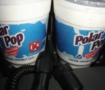 Our two Polar Pops in the cup holders in my truck.