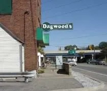 The Dagwoods sign hanging off the building.