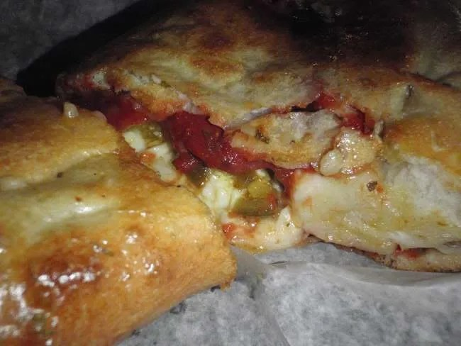 Pizza Calzone with Pepperoni and Jalapeno