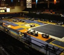 Huff Hall on the campus of the University of Illinois set up for gymnastics